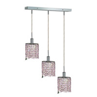 Mini 3 Light 15 inch Chrome Pendant Ceiling Light in Rosaline, Swarovski Strass, Rectangle, Ellipse