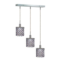 Mini 3 Light 15 inch Chrome Pendant Ceiling Light in Sapphire, Swarovski Strass, Rectangle, Ellipse