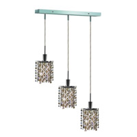 Mini 3 Light 15 inch Chrome Pendant Ceiling Light in Golden Teak, Swarovski Strass, Rectangle, Star
