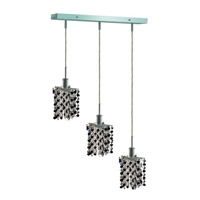 Mini 3 Light 15 inch Chrome Pendant Ceiling Light in Jet, Swarovski Strass, Rectangle, Star