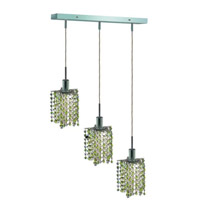 Mini 3 Light 15 inch Chrome Pendant Ceiling Light in Light Peridot, Swarovski Strass, Rectangle, Star