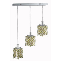 Mini 3 Light 15 inch Chrome Pendant Ceiling Light in Light Topaz, Swarovski Strass, Rectangle, Star