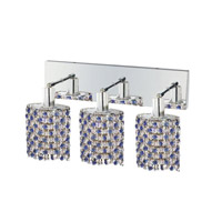 Mini 3 Light 15 inch Chrome Wall Sconce Wall Light in Sapphire, Swarovski Strass, Ellipse