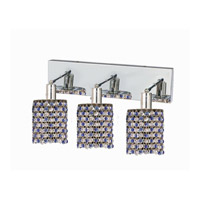 Mini 3 Light 15 inch Chrome Wall Sconce Wall Light in Sapphire, Swarovski Strass, Round