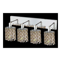 Elegant Lighting Mini 4 Light Wall Sconce in Chrome with Strass Swarovski Golden Teak (Smoky) Crystals 1384W-O-E-GT/SS
