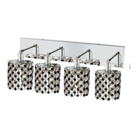 Elegant Lighting Mini 4 Light Wall Sconce in Chrome with Strass Swarovski Jet (Black) Crystals 1384W-O-E-JT/SS