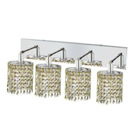 Elegant Lighting Mini 4 Light Wall Sconce in Chrome with Strass Swarovski Lt. Peridot (Light Green) Crystals 1384W-O-E-LP/SS