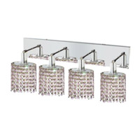 Elegant Lighting Mini 4 Light Wall Sconce in Chrome with Strass Swarovski Rosaline (Pink) Crystals 1384W-O-E-RO/SS