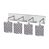 Elegant Lighting Mini 4 Light Wall Sconce in Chrome with Strass Swarovski Sapphire (Blue) Crystals 1384W-O-E-SA/SS