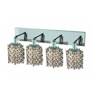 Elegant Lighting Mini 4 Light Wall Sconce in Chrome with Strass Swarovski Golden Teak (Smoky) Crystals 1384W-O-P-GT/SS