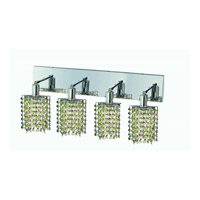 Elegant Lighting Mini 4 Light Wall Sconce in Chrome with Strass Swarovski Lt. Peridot (Light Green) Crystals 1384W-O-P-LP/SS