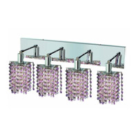 Elegant Lighting Mini 4 Light Wall Sconce in Chrome with Royal Cut Rosaline (Pink) Crystals 1384W-O-P-RO/RC