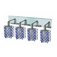 Elegant Lighting Mini 4 Light Wall Sconce in Chrome with Strass Swarovski Sapphire (Blue) Crystals 1384W-O-P-SA/SS
