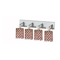 Elegant Lighting Mini 4 Light Wall Sconce in Chrome with Strass Swarovski Bordeaux (Red) Crystals 1384W-O-R-BO/SS