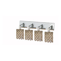 Elegant Lighting Mini 4 Light Wall Sconce in Chrome with Royal Cut Golden Teak (Smoky) Crystals 1384W-O-R-GT/RC