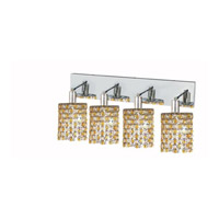 Elegant Lighting Mini 4 Light Wall Sconce in Chrome with Strass Swarovski Lt. Topaz (Yellow) Crystals 1384W-O-R-LT/SS