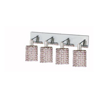 Elegant Lighting Mini 4 Light Wall Sconce in Chrome with Strass Swarovski Rosaline (Pink) Crystals 1384W-O-R-RO/SS