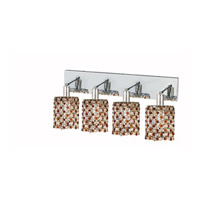 Elegant Lighting Mini 4 Light Wall Sconce in Chrome with Strass Swarovski Topaz (Brown) Crystals 1384W-O-R-TO/SS