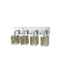 Elegant Lighting Mini 4 Light Wall Sconce in Chrome with Strass Swarovski Lt. Topaz (Yellow) Crystals 1384W-O-S-LT/SS