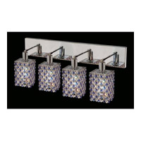 Elegant Lighting Mini 4 Light Wall Sconce in Chrome with Strass Swarovski Sapphire (Blue) Crystals 1384W-O-S-SA/SS