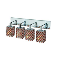 Elegant Lighting Mini 4 Light Wall Sconce in Chrome with Strass Swarovski Topaz (Brown) Crystals 1384W-O-S-TO/SS