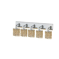 Elegant Lighting Mini 5 Light Wall Sconce in Chrome with Strass Swarovski Lt. Topaz (Yellow) Crystals 1385W-O-E-LT/SS