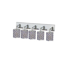 Elegant Lighting Mini 5 Light Wall Sconce in Chrome with Strass Swarovski Sapphire (Blue) Crystals 1385W-O-E-SA/SS
