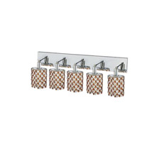 Elegant Lighting Mini 5 Light Wall Sconce in Chrome with Strass Swarovski Topaz (Brown) Crystals 1385W-O-E-TO/SS