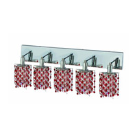 Elegant Lighting Mini 5 Light Wall Sconce in Chrome with Strass Swarovski Bordeaux (Red) Crystals 1385W-O-P-BO/SS