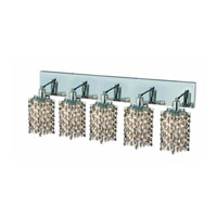 Elegant Lighting Mini 5 Light Wall Sconce in Chrome with Royal Cut Golden Teak (Smoky) Crystals 1385W-O-P-GT/RC