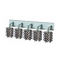 Elegant Lighting Mini 5 Light Wall Sconce in Chrome with Strass Swarovski Jet (Black) Crystals 1385W-O-P-JT/SS
