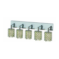 Elegant Lighting Mini 5 Light Wall Sconce in Chrome with Strass Swarovski Lt. Peridot (Light Green) Crystals 1385W-O-P-LP/SS
