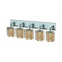 Elegant Lighting Mini 5 Light Wall Sconce in Chrome with Strass Swarovski Lt. Topaz (Yellow) Crystals 1385W-O-P-LT/SS