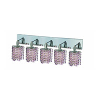 Elegant Lighting Mini 5 Light Wall Sconce in Chrome with Royal Cut Rosaline (Pink) Crystals 1385W-O-P-RO/RC