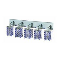 Elegant Lighting Mini 5 Light Wall Sconce in Chrome with Strass Swarovski Sapphire (Blue) Crystals 1385W-O-P-SA/SS