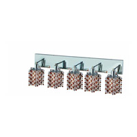 Elegant Lighting Mini 5 Light Wall Sconce in Chrome with Strass Swarovski Topaz (Brown) Crystals 1385W-O-P-TO/SS