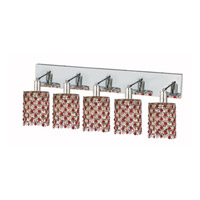 Elegant Lighting Mini 5 Light Wall Sconce in Chrome with Strass Swarovski Bordeaux (Red) Crystals 1385W-O-R-BO/SS