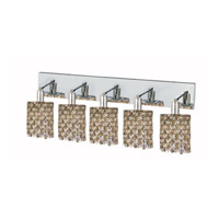 Elegant Lighting Mini 5 Light Wall Sconce in Chrome with Strass Swarovski Golden Teak (Smoky) Crystals 1385W-O-R-GT/SS