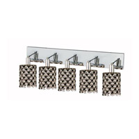 Elegant Lighting Mini 5 Light Wall Sconce in Chrome with Strass Swarovski Jet (Black) Crystals 1385W-O-R-JT/SS