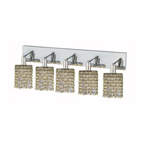 Elegant Lighting Mini 5 Light Wall Sconce in Chrome with Strass Swarovski Lt. Peridot (Light Green) Crystals 1385W-O-R-LP/SS