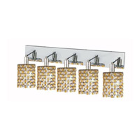 Elegant Lighting Mini 5 Light Wall Sconce in Chrome with Strass Swarovski Lt. Topaz (Yellow) Crystals 1385W-O-R-LT/SS