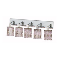 Elegant Lighting Mini 5 Light Wall Sconce in Chrome with Strass Swarovski Rosaline (Pink) Crystals 1385W-O-R-RO/SS