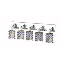 Elegant Lighting Mini 5 Light Wall Sconce in Chrome with Strass Swarovski Sapphire (Blue) Crystals 1385W-O-R-SA/SS