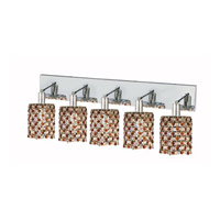 Elegant Lighting Mini 5 Light Wall Sconce in Chrome with Strass Swarovski Topaz (Brown) Crystals 1385W-O-R-TO/SS