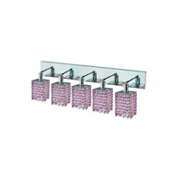 Elegant Lighting Mini 5 Light Wall Sconce in Chrome with Strass Swarovski Rosaline (Pink) Crystals 1385W-O-S-RO/SS