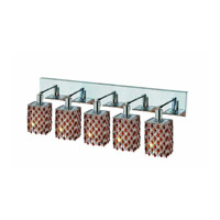Elegant Lighting Mini 5 Light Wall Sconce in Chrome with Royal Cut Topaz (Brown) Crystals 1385W-O-S-TO/RC