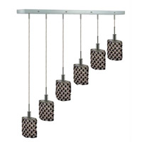 Elegant Lighting Mini 6 Light Pendant in Chrome with Strass Swarovski Jet (Black) Crystals 1386D-O-E-JT/SS