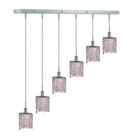 Elegant Lighting Mini 6 Light Pendant in Chrome with Strass Swarovski Rosaline (Pink) Crystals 1386D-O-E-RO/SS