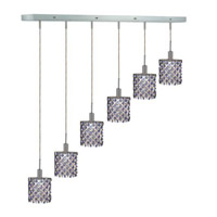 Elegant Lighting Mini 6 Light Pendant in Chrome with Strass Swarovski Sapphire (Blue) Crystals 1386D-O-E-SA/SS