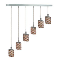 Elegant Lighting Mini 6 Light Pendant in Chrome with Strass Swarovski Topaz (Brown) Crystals 1386D-O-E-TO/SS